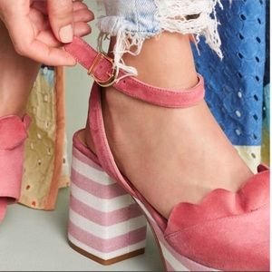 Anthropologie Pink Ruffles Platform Heels